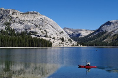 View of kayak on Tenaya Lake
